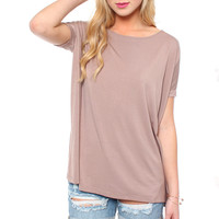 Bamboo Scoop Tee - Taupe