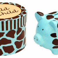 """Manual Woodworkers Wild Child Ceramic Piggy Bank in a Gift Box, Blue, 4 X 4 X 3.25"""""""