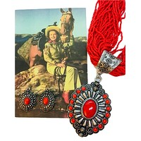 Red Concho Seed Bead Necklace