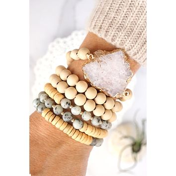Wooden Beads, Sliced Stone Bracelet Set