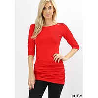 Ruby Ruched Side 3/4 Sleeve Tunic