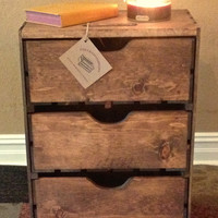 """Extra Large Three Drawer Wood Storage Crate -  24""""T x 18""""W x 11 1/2""""D - Stacking Crates - Pullout Crates - Decorative Crate - Apple Crate"""