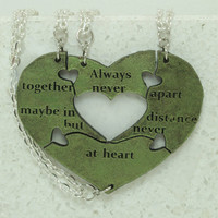 Friendship pendant set of 4 Leather Puzzle Key chains Always Together quote Green