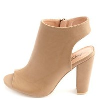Peep Toe Slingback Chunky Heels by Charlotte Russe - Taupe