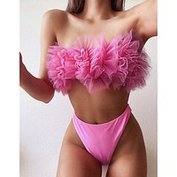 2020 new ladies lace wrapped chest mesh split bikini two-piece suit