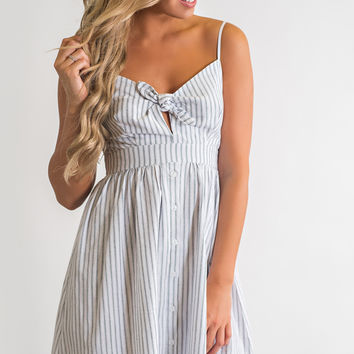 Claire Striped Fit & Flare Dress (White)