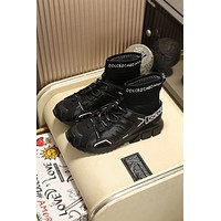 DOLCE&GABBANA  Trending Men Women Black Leather Side Zip Lace-up Ankle Boots Shoes High Boots