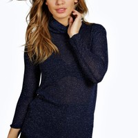 Petite Ava Roll Neck Glitter Knit Jumper