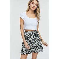 Chloe Floral Wrap Skirt (Black)