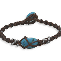 "7"" Brown Cord and Turquoise Toggle Bracelet"