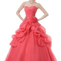 Faironly Pink Organza Prom Ball Gown Quinceanera Dress (L)