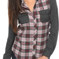 Empyre Exeter Red & Charcoal Hooded Flannel