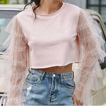 Summer navel stitching round neck spinning long-sleeved T-shirt