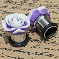 """Purple and white flower with matte finish flower plugs for gauged ears: 14g - 7/16"""""""