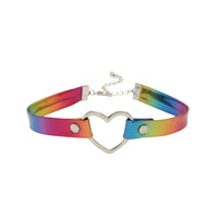 Blackheart Rainbow Heart O-Ring Bondage Choker