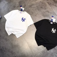 """ New York Yankees""Man Casual Fashion Letter Graffiti Printing Loose Large Size Short Sleeve T-Shirt Tops"