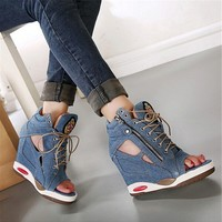 2017 Platform wedge canvas denim octopus mouth open toe