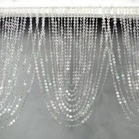 "3 ft x 20"" Clear Iridescent Faux Crystal Like Curtain"