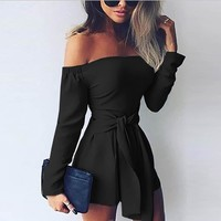 Boho Women Long Sleeve Off Shoulder Beach Party Jumpsuits Summer Female Lace-up Solid Color Ruffle Casual Shorts Rompers EY11