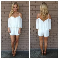 White Off Shoulder Sleeved Romper