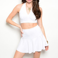 Crop Top & Skater Skirt Set in Ivory