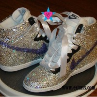 Dunks - Mail In - Clear Violet Swarovski Crystal Nike Dunk Hi with Ribbon Laces