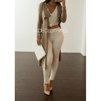 Allyson Taupe Long Cardigan - Jaide Clothing