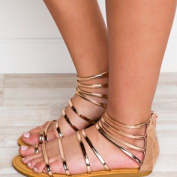 Secret Hideaway Sandals - Rose Gold
