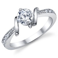 0.50 Carat Round Brilliant CZ Cubic Zirconia Ring Sterling Silver 925 Wedding Engagement Jewelry