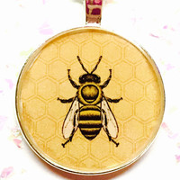 Honey Bee Necklace, Honeybee Jewelry, Insect Jewelry, Insect Necklace, Bumblebee Image, Bug Necklace, Biology Necklace, Girl Gift