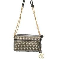 Rhinestone Studded Bling Messenger Satchel Bag Cross Body Chain Purse Pewter