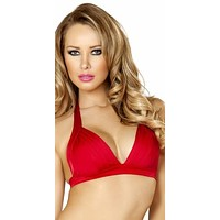 Sexy Red Gathered Front Halter Pin Up Retro Bikini Top