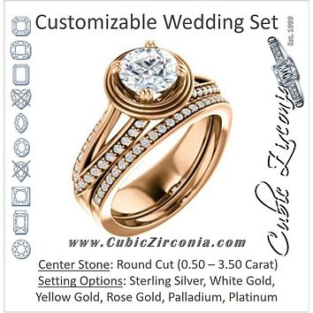 CZ Wedding Set, featuring The Reina engagement ring (Customizable Ridged-Bevel Surrounded Round Cut with 3-sided Split-Pavé Band)