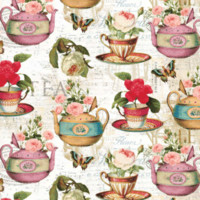 Tea Cups and Teapots with Flowers Tea Time Accent Pillow