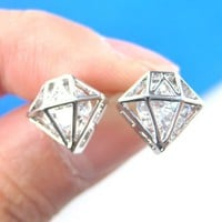 SMALL 3D Diamond Shaped Rhinestone Shiny Bling Stud Earrings in Silver