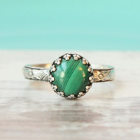 Malachite ring - sterling silver - green ring - handmade - green gemstone - antique vintage style - floral band - St Patrick's Day jewelry