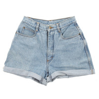 Rokit Recycled Faded Blue Denim Turn-Up Shorts W27 | Shorts | Rokit Vintage Clothing