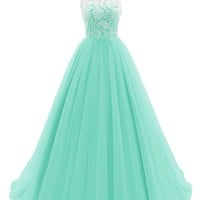 Dresstells® Women's Long Tulle Prom Dress Dance Gown with Lace Mint Size 8