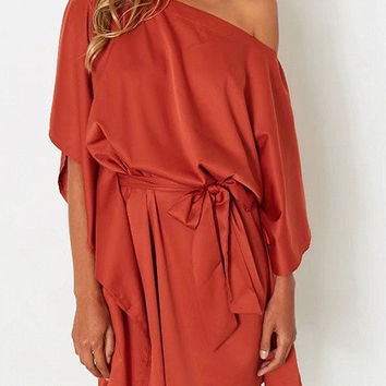 Orange Self Tie One Shoulder Cape Sleeve Dress