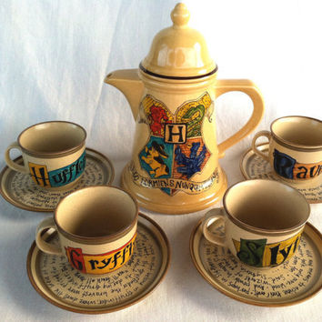 Harry Potter Hogwarts Crest Tea Set - J.K. Rowling Quote with Gryffindor, Slytherin, Hufflepuff, and Ravenclaw House Teacups and Saucers