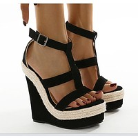 New style women's shoes European and American sexy wedge platform high-heeled large size sandals