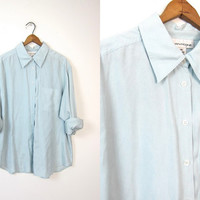 Pale Blue Silk Blouse Slouchy Minimal Silk Button Up Shirt with Chest Pocket Long Sleeve 90s Loose Fit Minimalist Blouse Womens Large 14