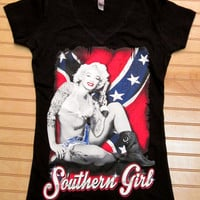Women Fitted V Neck Tee Marilyn Monroe Southern Girl
