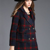 Navy And Red Plaid Lapel Double Breasted Woolen Coat
