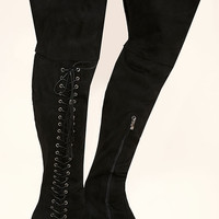 Dolores Black Suede Lace-Up Over the Knee Boots