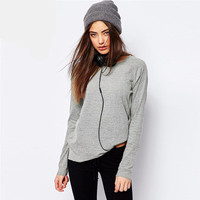 Fashion Casual Slim Round Necked Solid Sweatshirt a13261