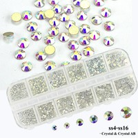 1Box Gold Flat Back Rhinestones 3D Nail Decoration Crystal AB Mixed Glass Stones Nail Art Rhinestones DIY Accessories DIY LA387