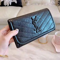 YSL Hot Sale Women Leather Buckle Wallet Purse Black