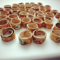 """Hand-Painted Wooden Ring - """"The Beauty of Mother Nature"""""""