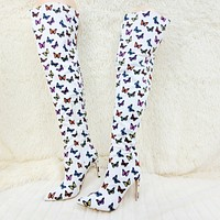 "Bad Girlz White Colorful Butterfly Wide Top Thigh High Boots 4"" Heels"